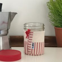 Pint Sized Mason Jar with Wide Lid and Sleeve